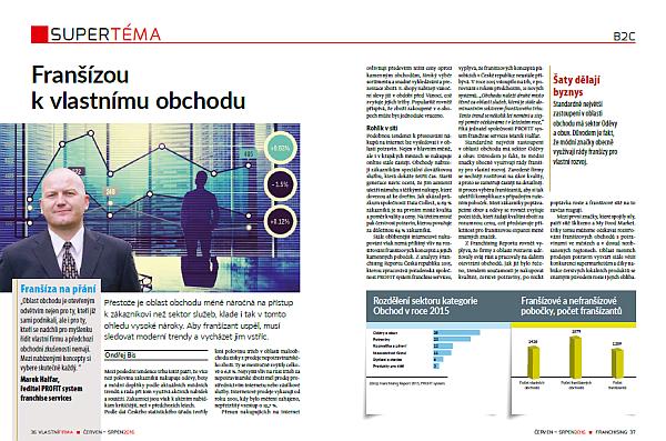 Titulní strana magazínu Vlastní firma FRANCHISING, Roman Šmucler, televizní moderátor a lékař, majitel soukromé kliniky Asklepion