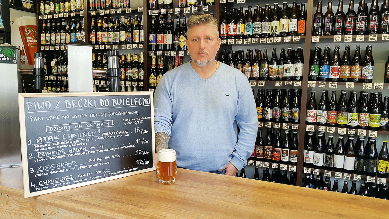 Tomasz Szwal, właściciel sklepu Studium Dobrego Piwa